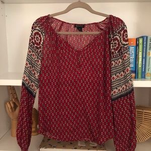 Red printed blouse